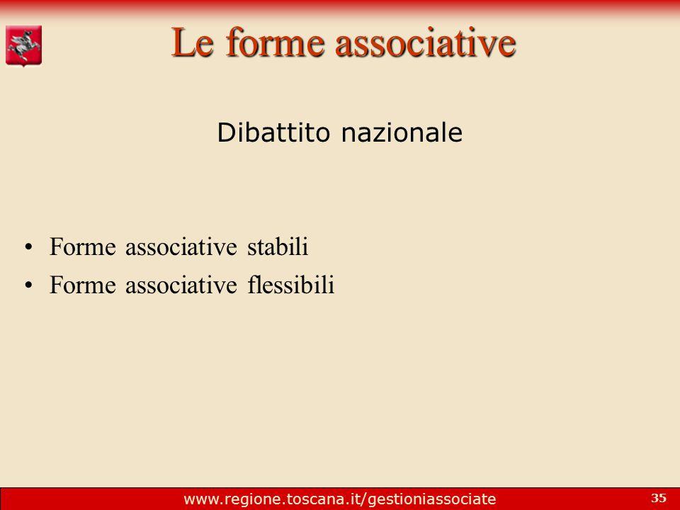 www.regione.toscana.it/gestioniassociate 35 Le forme associative Dibattito nazionale Forme associative stabili Forme associative flessibili