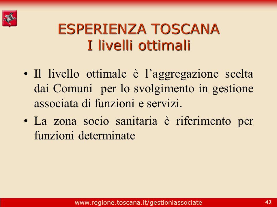 www.regione.toscana.it/gestioniassociate 42 ESPERIENZA TOSCANA I livelli ottimali Il livello ottimale è l'aggregazione scelta dai Comuni per lo svolgimento in gestione associata di funzioni e servizi.