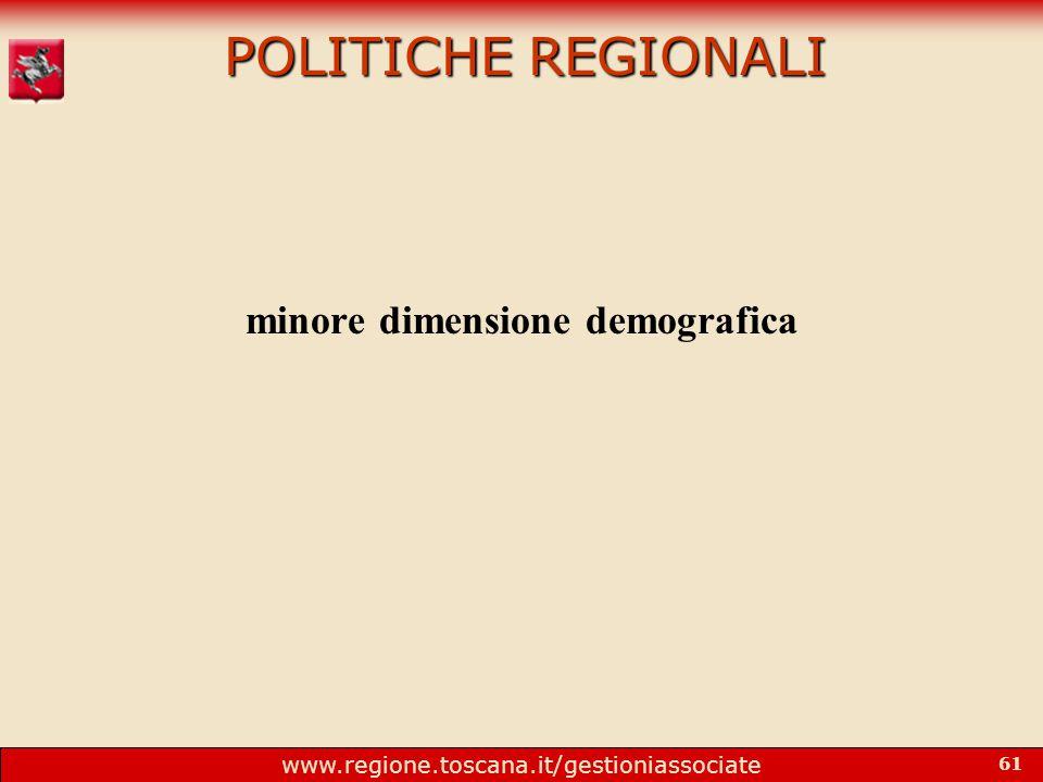 www.regione.toscana.it/gestioniassociate 61 POLITICHE REGIONALI minore dimensione demografica