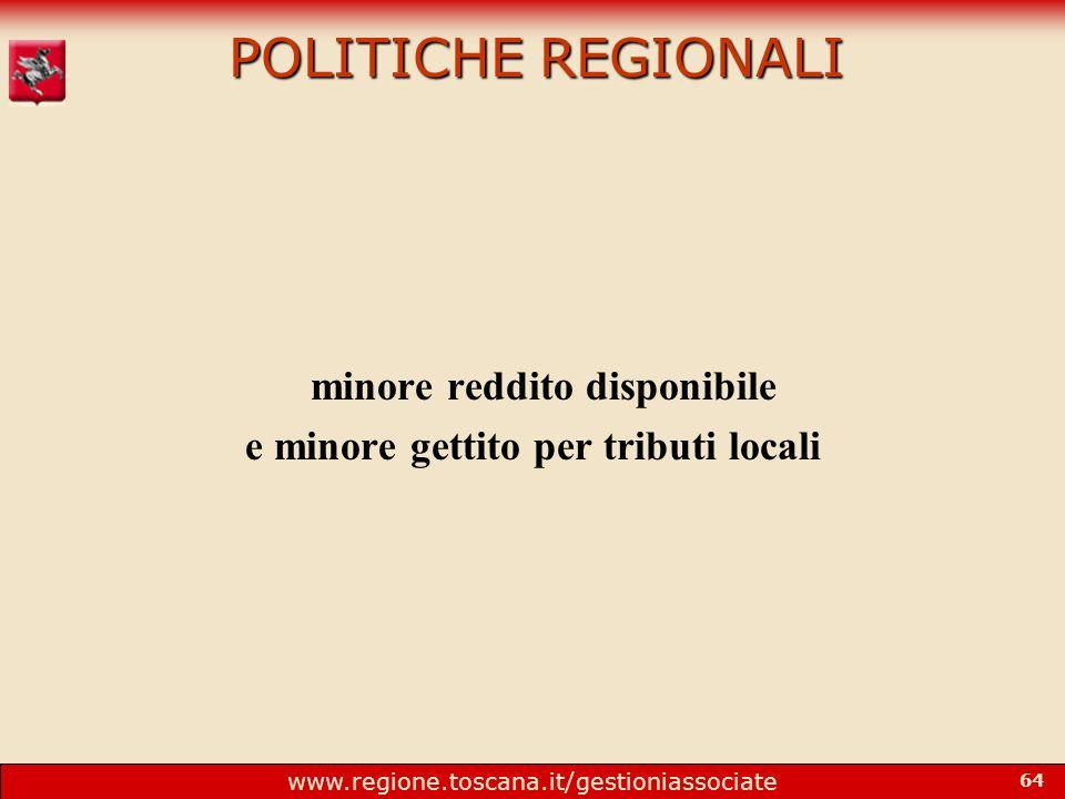 www.regione.toscana.it/gestioniassociate 64 POLITICHE REGIONALI minore reddito disponibile e minore gettito per tributi locali