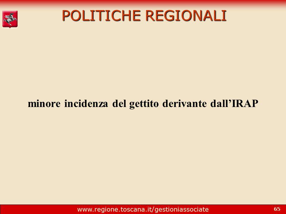 www.regione.toscana.it/gestioniassociate 65 POLITICHE REGIONALI minore incidenza del gettito derivante dall'IRAP