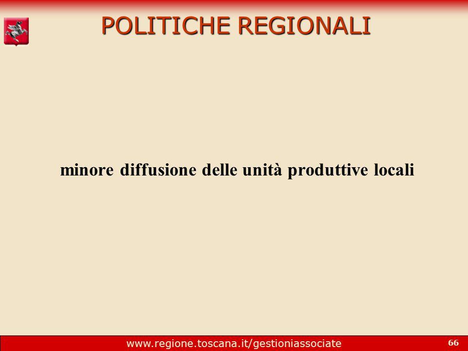 www.regione.toscana.it/gestioniassociate 66 POLITICHE REGIONALI minore diffusione delle unità produttive locali