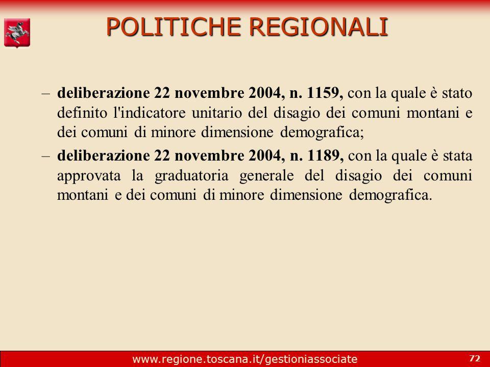 www.regione.toscana.it/gestioniassociate 72 POLITICHE REGIONALI –deliberazione 22 novembre 2004, n.