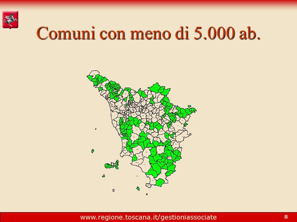 www.regione.toscana.it/gestioniassociate 8 Comuni con meno di 5.000 ab.