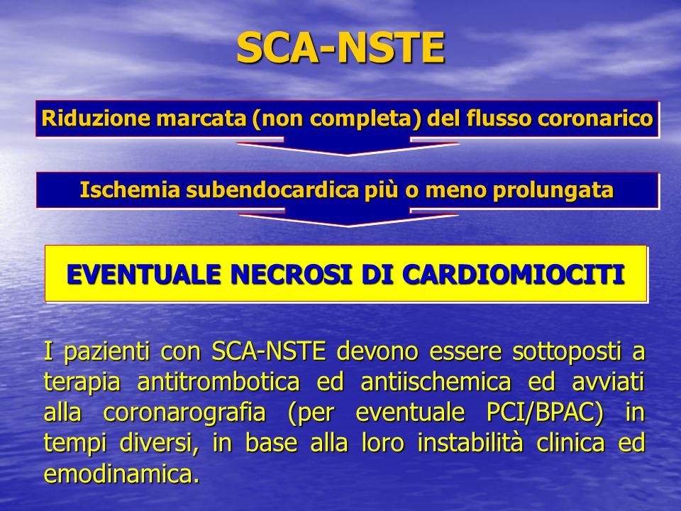 SCA-NSTE Riduzione marcata (non completa) del flusso coronarico Ischemia subendocardica più o meno prolungata EVENTUALE NECROSI DI CARDIOMIOCITI I paz