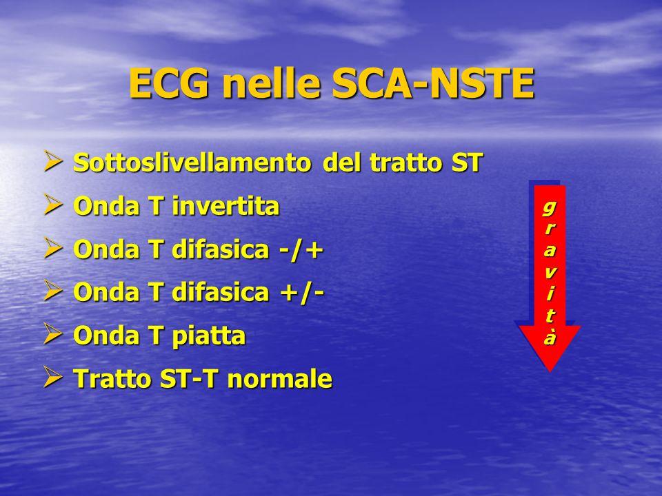 ECG nelle SCA-NSTE  Sottoslivellamento del tratto ST  Onda T invertita  Onda T difasica -/+  Onda T difasica +/-  Onda T piatta  Tratto ST-T nor