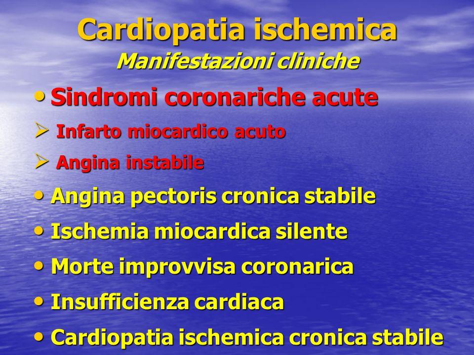 Sindromi coronariche acute Sindromi coronariche acute  Infarto miocardico acuto  Angina instabile Angina pectoris cronica stabile Angina pectoris cr