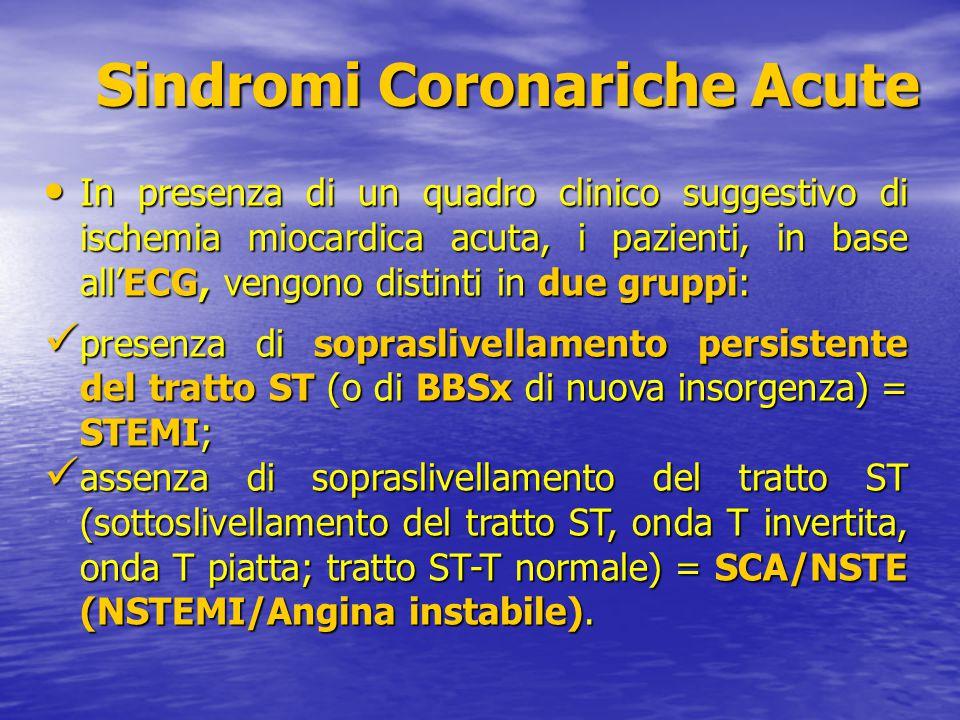Sindromi Coronariche Acute Sindromi Coronariche Acute In presenza di un quadro clinico suggestivo di ischemia miocardica acuta, i pazienti, in base al