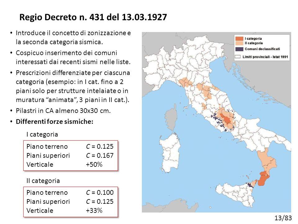 13/83 Introduce il concetto di zonizzazione e la seconda categoria sismica. Cospicuo inserimento dei comuni interessati dai recenti sismi nelle liste.