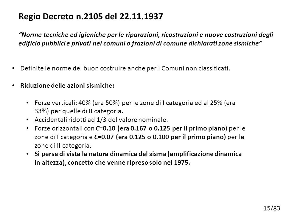 """15/83 Regio Decreto n.2105 del 22.11.1937 """"Norme tecniche ed igieniche per le riparazioni, ricostruzioni e nuove costruzioni degli edificio pubblici e"""