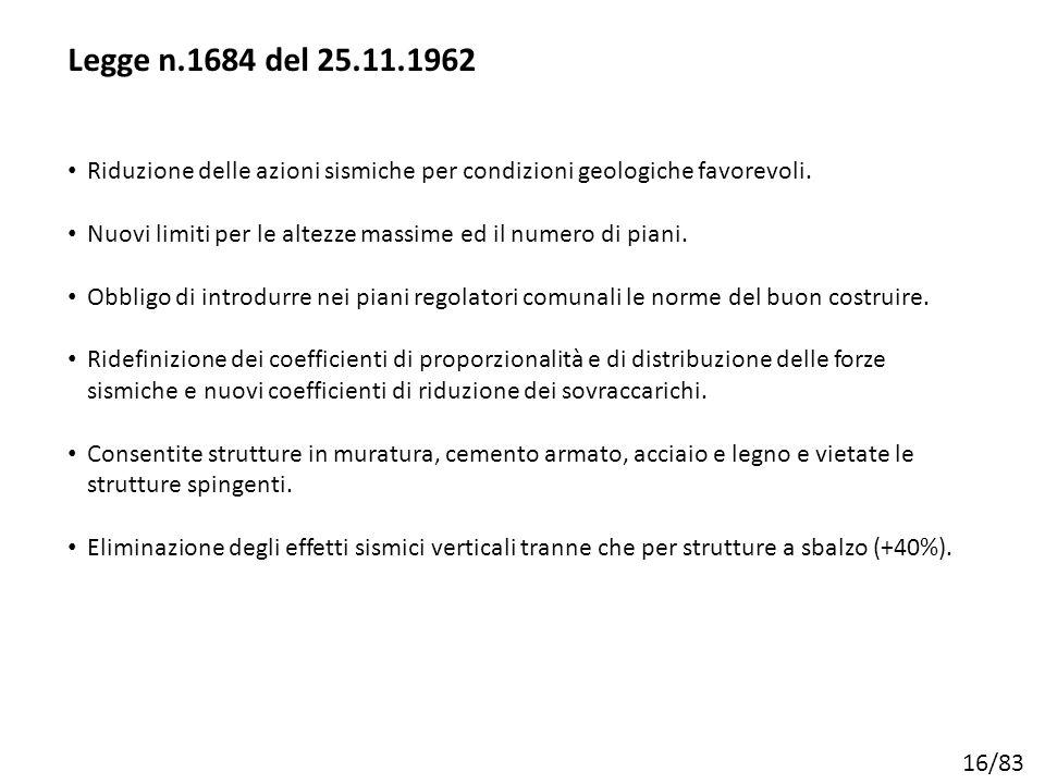 16/83 Riduzione delle azioni sismiche per condizioni geologiche favorevoli. Nuovi limiti per le altezze massime ed il numero di piani. Obbligo di intr