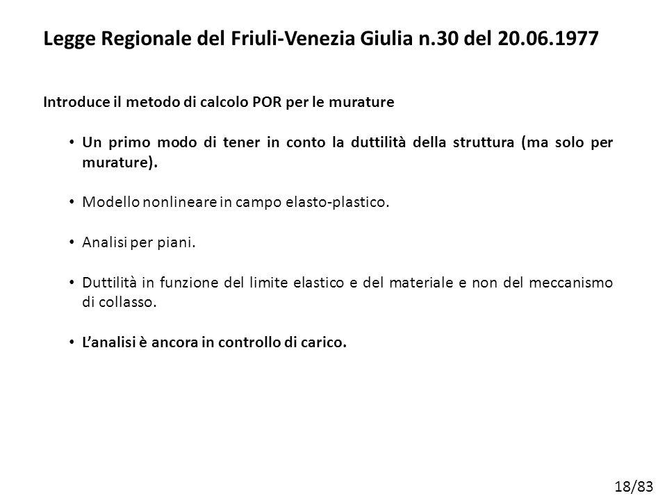 18/83 Legge Regionale del Friuli-Venezia Giulia n.30 del 20.06.1977 Introduce il metodo di calcolo POR per le murature Un primo modo di tener in conto