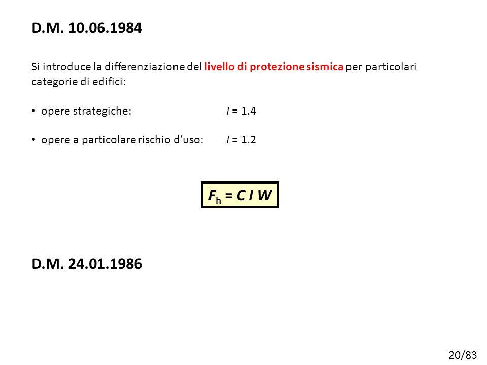 20/83 Si introduce la differenziazione del livello di protezione sismica per particolari categorie di edifici: opere strategiche:I = 1.4 opere a parti