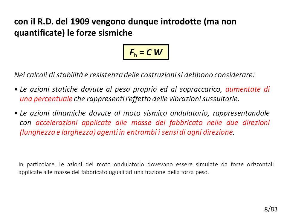 8/83 Nei calcoli di stabilità e resistenza delle costruzioni si debbono considerare: Le azioni statiche dovute al peso proprio ed al sopraccarico, aum