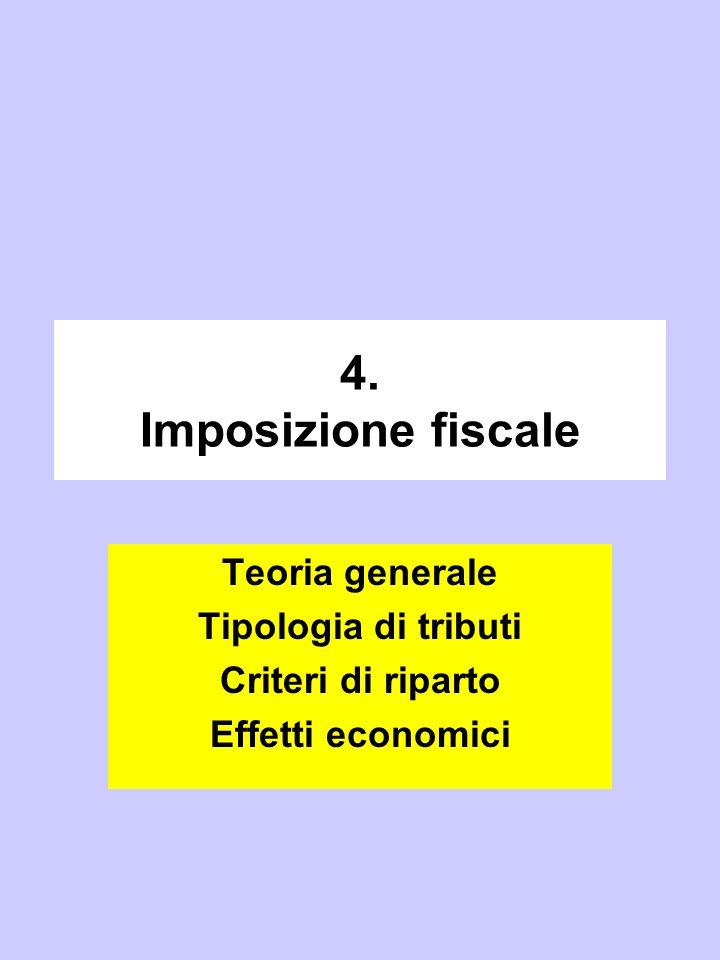 4. Imposizione fiscale Teoria generale Tipologia di tributi Criteri di riparto Effetti economici