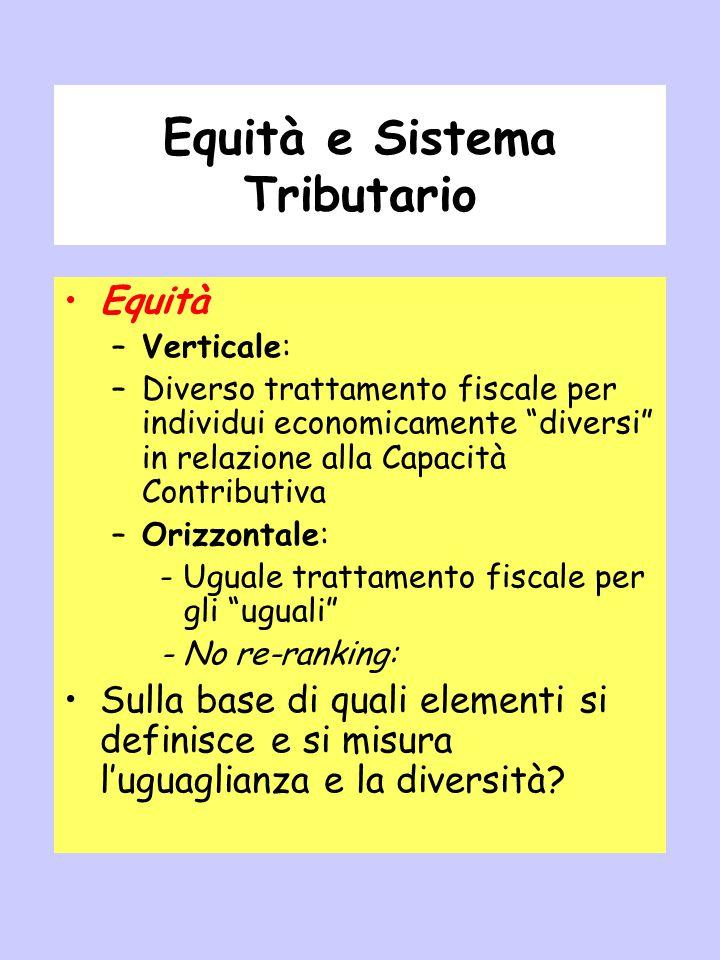"""Equità e Sistema Tributario Equità –Verticale: –Diverso trattamento fiscale per individui economicamente """"diversi"""" in relazione alla Capacità Contribu"""