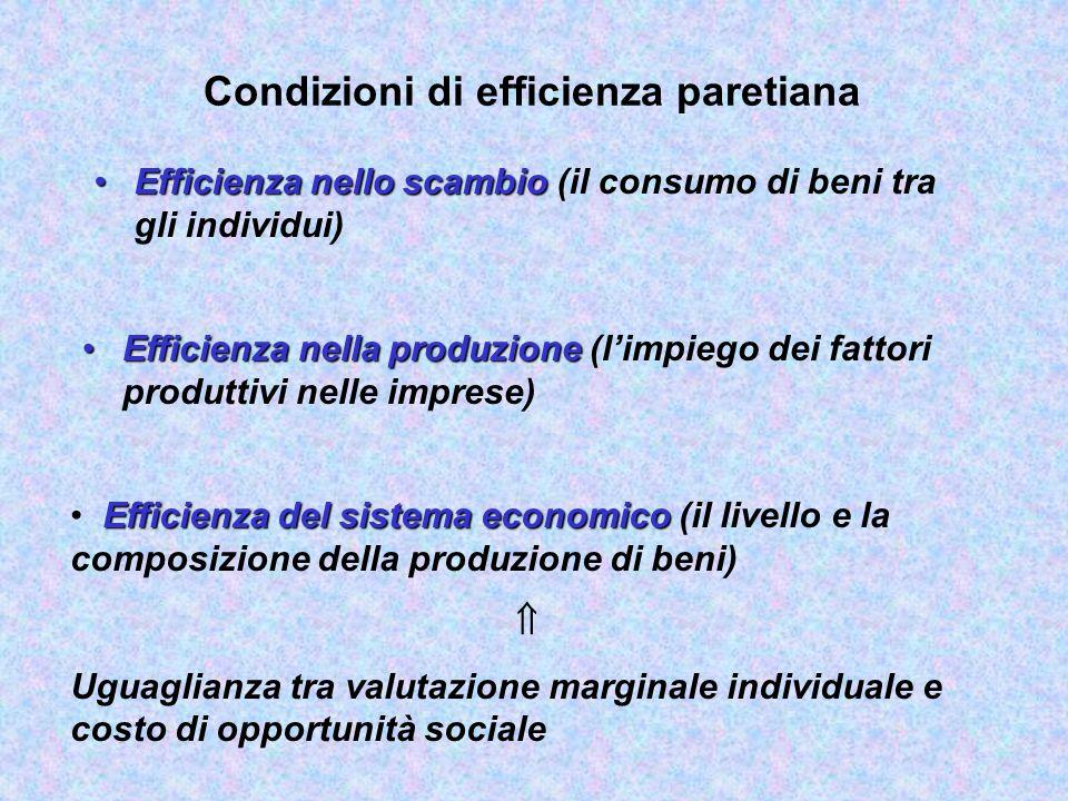 Efficienza allocativa (paretiana) e ottimo sociale EfficienzaEfficienza: Allocazione che impiega le risorse disponibili in modo razionale, utilizzando