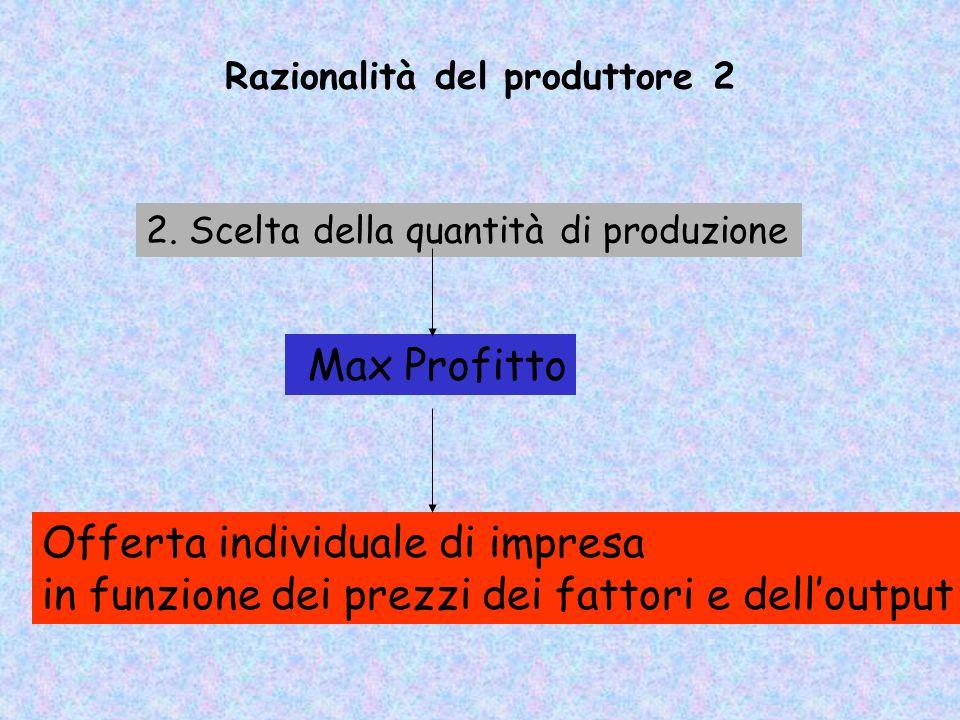 Razionalità del produttore 1 Tecnologia Funzione di produzione: 1. Scelta delle tecniche produttivie Min Costi Vincolo di produzione: