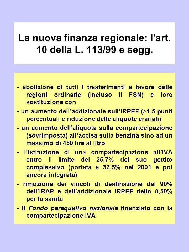 La nuova finanza regionale: l'art. 10 della L. 113/99 e segg. - abolizione di tutti i trasferimenti a favore delle regioni ordinarie (incluso il FSN)