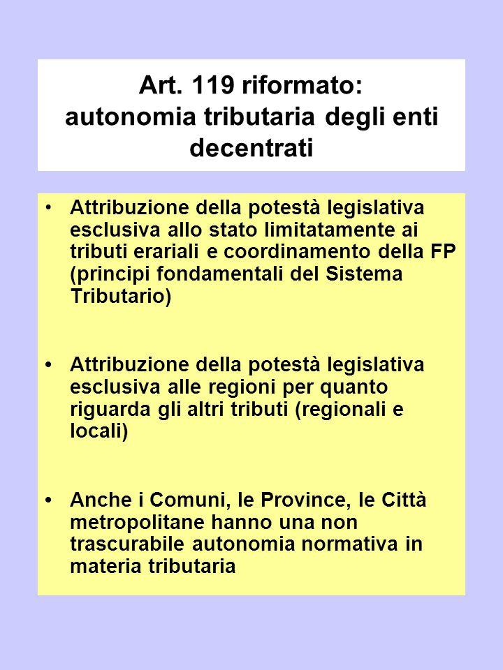 Art. 119 riformato: autonomia tributaria degli enti decentrati Attribuzione della potestà legislativa esclusiva allo stato limitatamente ai tributi er