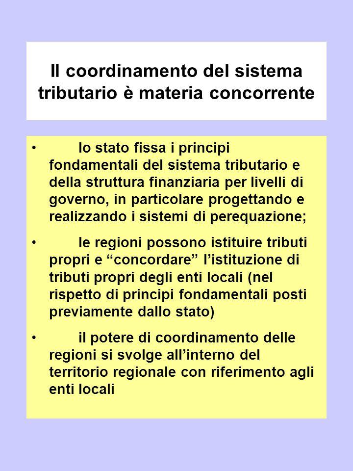 Il coordinamento del sistema tributario è materia concorrente lo stato fissa i principi fondamentali del sistema tributario e della struttura finanzia