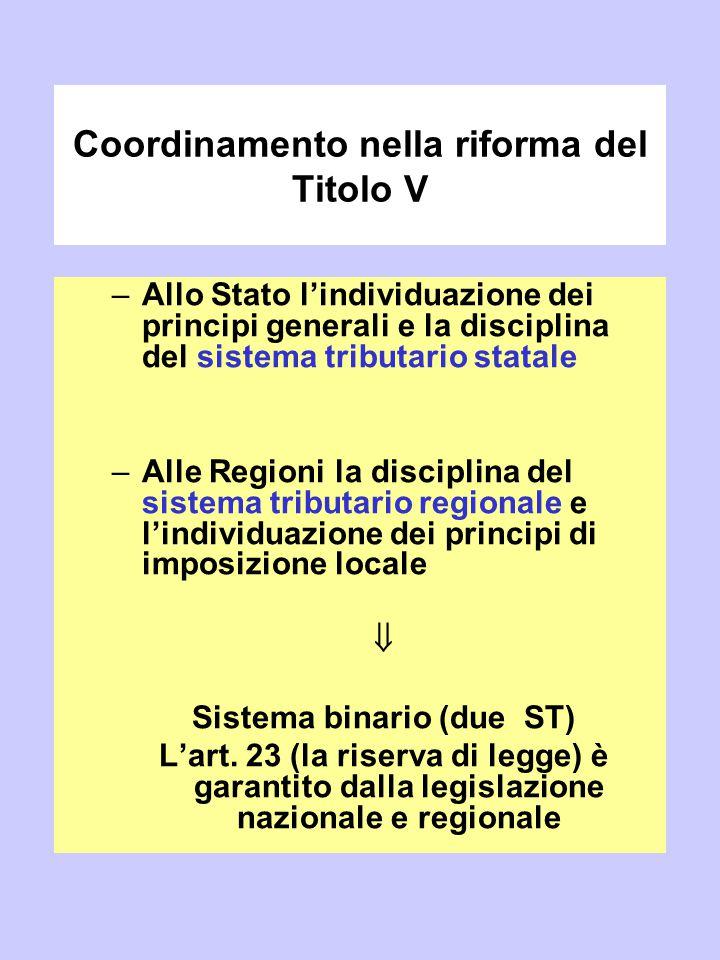 Coordinamento nella riforma del Titolo V –Allo Stato l'individuazione dei principi generali e la disciplina del sistema tributario statale –Alle Regio