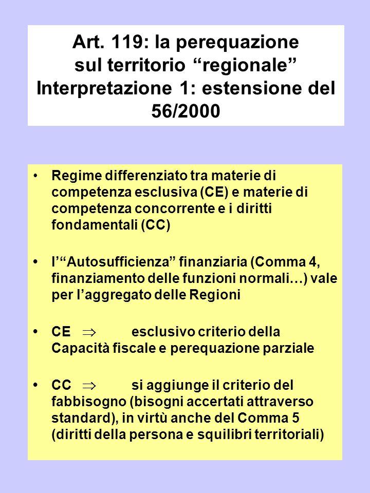 """Art. 119: la perequazione sul territorio """"regionale"""" Interpretazione 1: estensione del 56/2000 Regime differenziato tra materie di competenza esclusiv"""