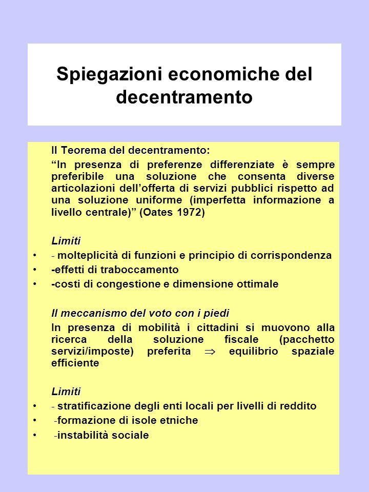 """Spiegazioni economiche del decentramento Il Teorema del decentramento Il Teorema del decentramento: """"In presenza di preferenze differenziate è sempre"""