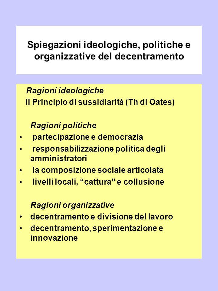 Spiegazioni ideologiche, politiche e organizzative del decentramento Ragioni ideologiche Il Principio di sussidiarità (Th di Oates) Ragioni politiche