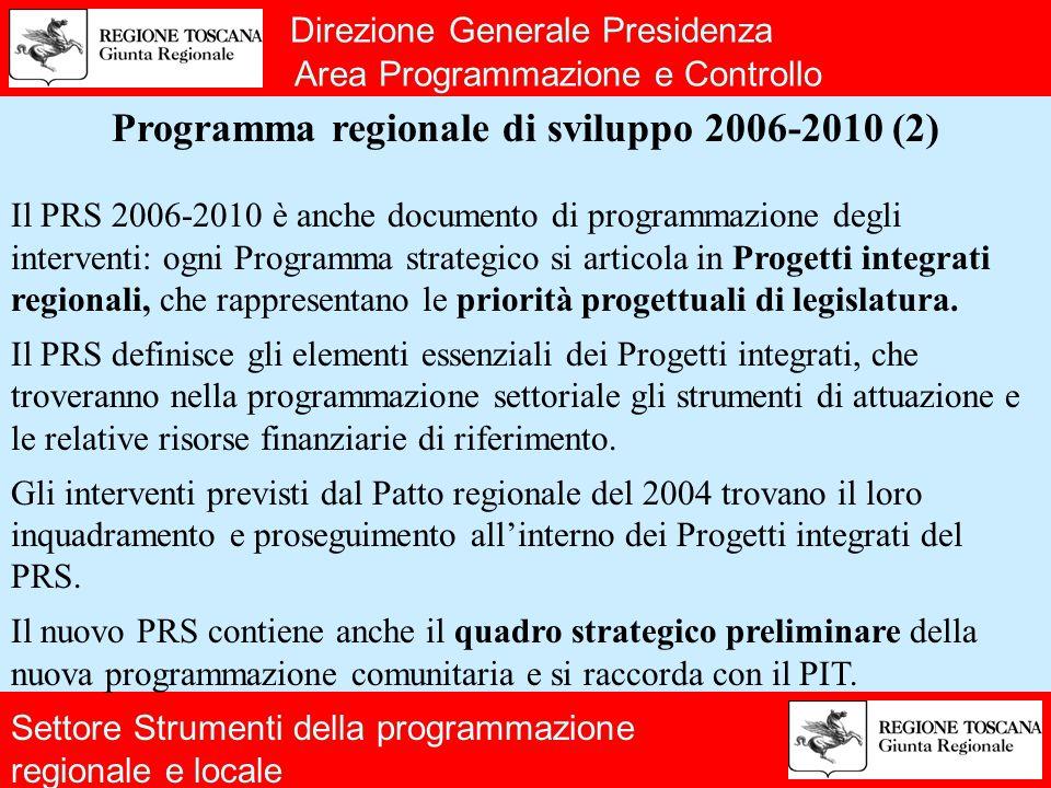 Direzione Generale Presidenza Area Programmazione e Controllo Programma regionale di sviluppo 2006-2010 (2) Il PRS 2006-2010 è anche documento di programmazione degli interventi: ogni Programma strategico si articola in Progetti integrati regionali, che rappresentano le priorità progettuali di legislatura.