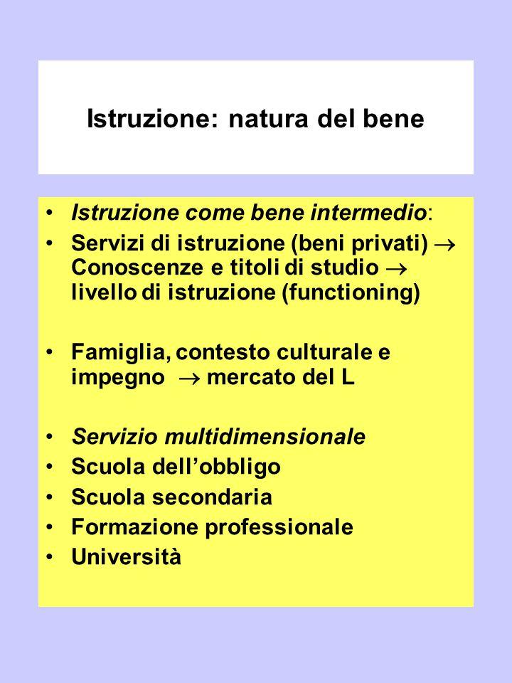 Istruzione: natura del bene Istruzione come bene intermedio: Servizi di istruzione (beni privati)  Conoscenze e titoli di studio  livello di istruzi