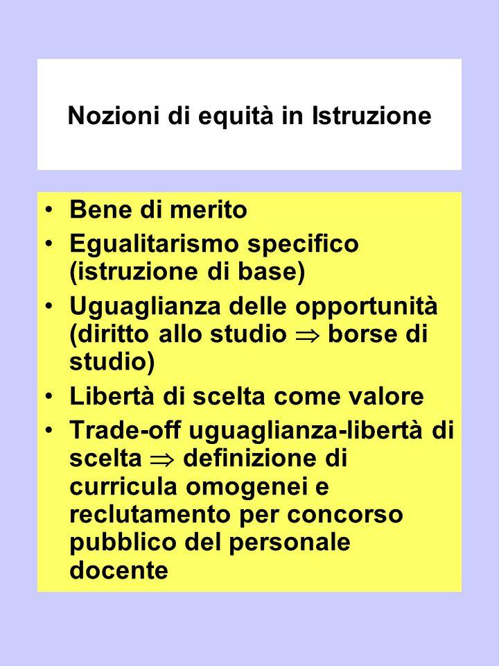 Nozioni di equità in Istruzione Bene di merito Egualitarismo specifico (istruzione di base) Uguaglianza delle opportunità (diritto allo studio  borse