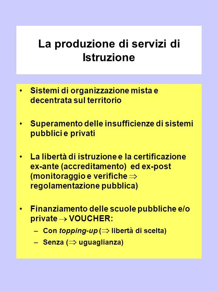 La produzione di servizi di Istruzione Sistemi di organizzazione mista e decentrata sul territorio Superamento delle insufficienze di sistemi pubblici