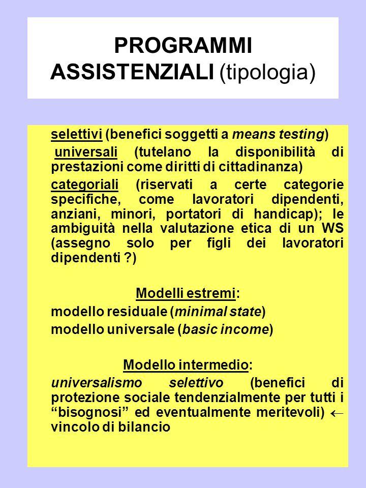 PROGRAMMI ASSISTENZIALI (tipologia) selettivi (benefici soggetti a means testing) universali (tutelano la disponibilità di prestazioni come diritti di