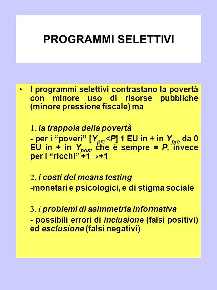 PROGRAMMI SELETTIVI I programmi selettivi contrastano la povertà con minore uso di risorse pubbliche (minore pressione fiscale) ma  la trappola dell