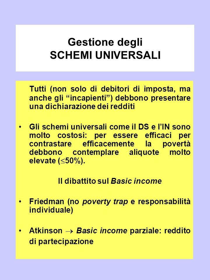 """Gestione degli SCHEMI UNIVERSALI Tutti (non solo di debitori di imposta, ma anche gli """"incapienti"""") debbono presentare una dichiarazione dei redditi G"""