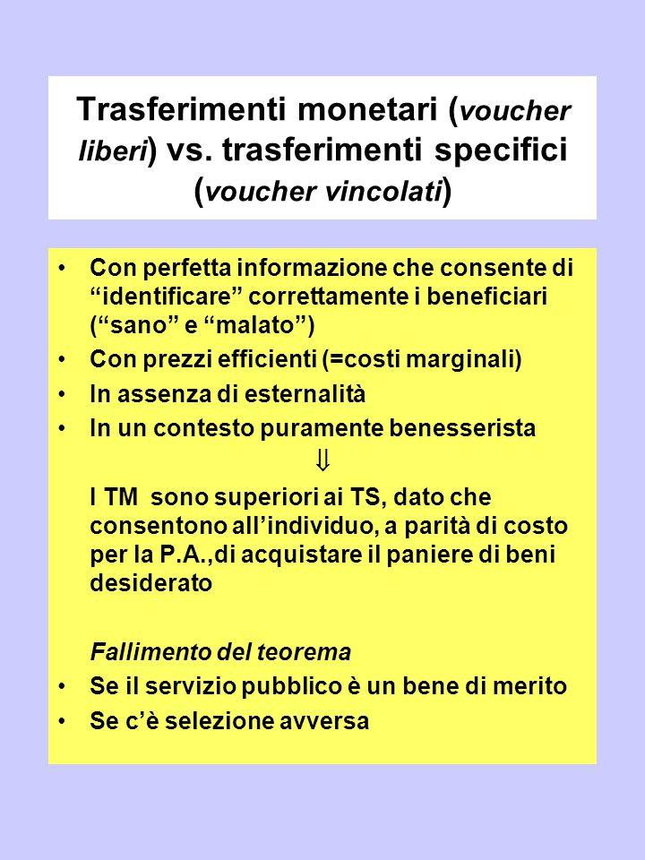 """Trasferimenti monetari ( voucher liberi ) vs. trasferimenti specifici ( voucher vincolati ) Con perfetta informazione che consente di """"identificare"""" c"""