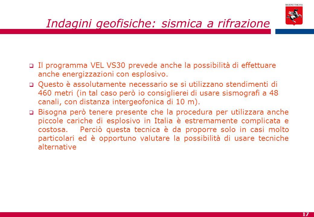 17 Indagini geofisiche: sismica a rifrazione  Il programma VEL VS30 prevede anche la possibilità di effettuare anche energizzazioni con esplosivo. 