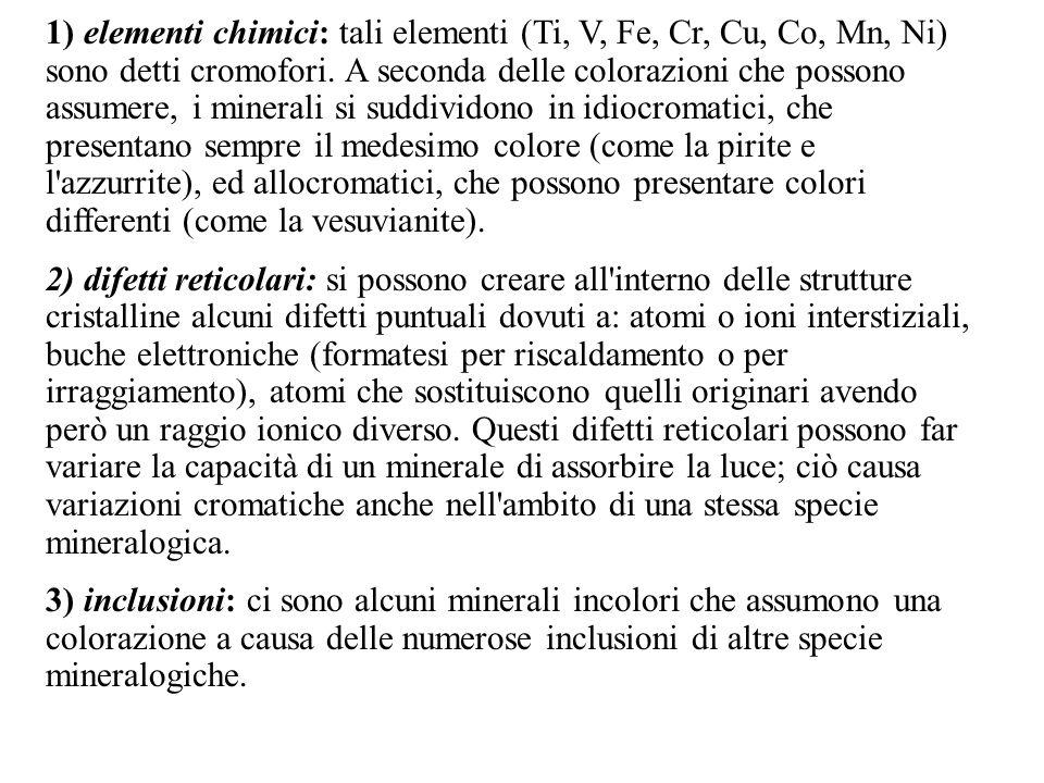 1) elementi chimici: tali elementi (Ti, V, Fe, Cr, Cu, Co, Mn, Ni) sono detti cromofori. A seconda delle colorazioni che possono assumere, i minerali