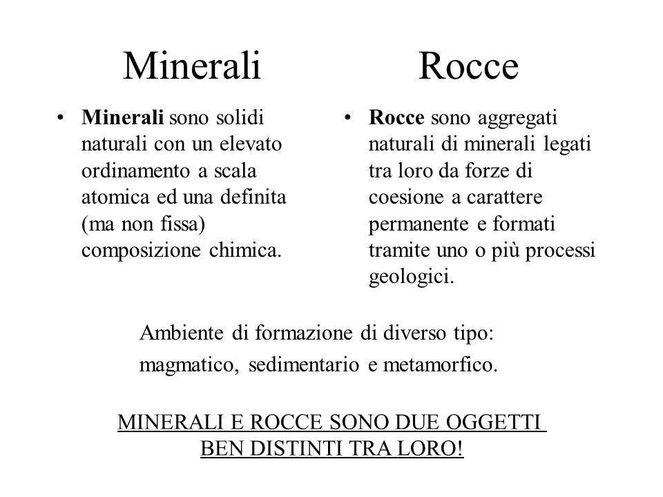 Minerali Rocce Minerali sono solidi naturali con un elevato ordinamento a scala atomica ed una definita (ma non fissa) composizione chimica. Rocce son