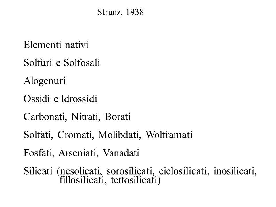 Strunz, 1938 Elementi nativi Solfuri e Solfosali Alogenuri Ossidi e Idrossidi Carbonati, Nitrati, Borati Solfati, Cromati, Molibdati, Wolframati Fosfa