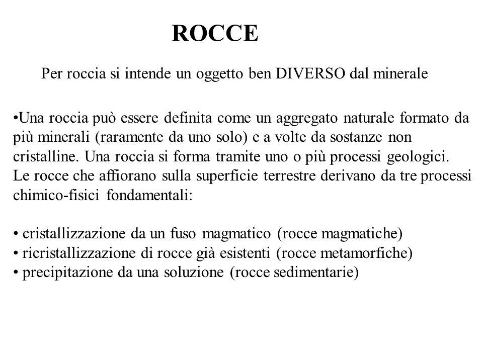 ROCCE Per roccia si intende un oggetto ben DIVERSO dal minerale Una roccia può essere definita come un aggregato naturale formato da più minerali (rar