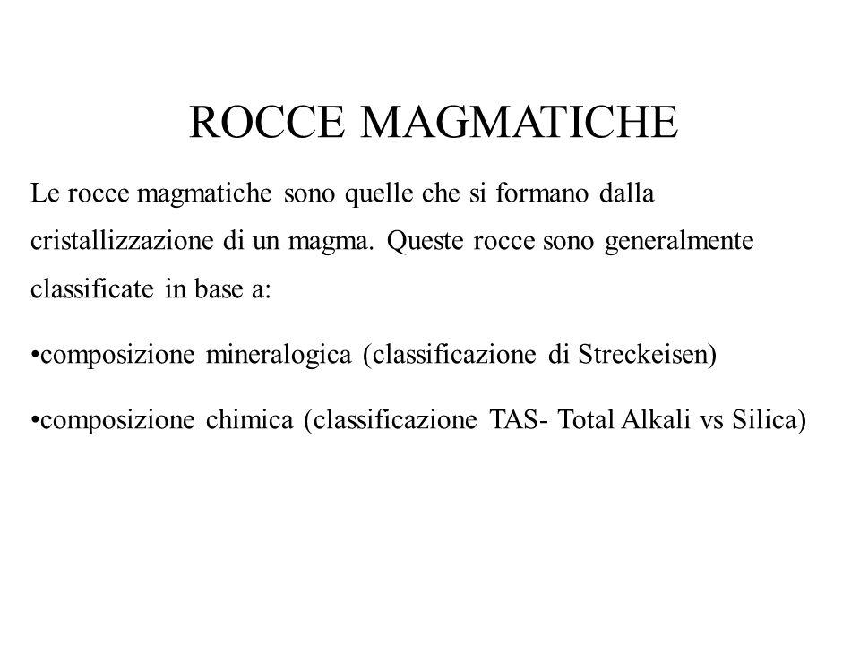 ROCCE MAGMATICHE Le rocce magmatiche sono quelle che si formano dalla cristallizzazione di un magma. Queste rocce sono generalmente classificate in ba