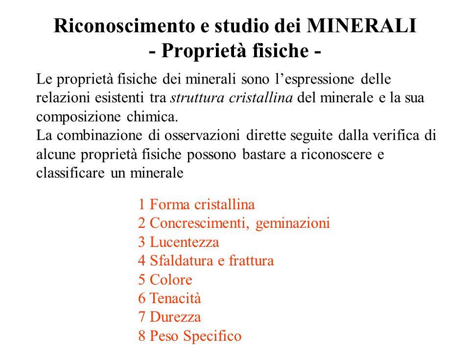 Riconoscimento e studio dei MINERALI - Proprietà fisiche - Le proprietà fisiche dei minerali sono l'espressione delle relazioni esistenti tra struttur
