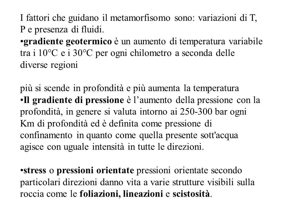 I fattori che guidano il metamorfisomo sono: variazioni di T, P e presenza di fluidi. gradiente geotermico è un aumento di temperatura variabile tra i