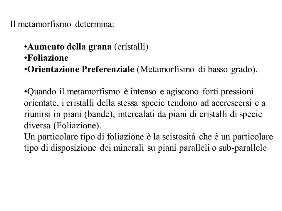 Il metamorfismo determina: Aumento della grana (cristalli) Foliazione Orientazione Preferenziale (Metamorfismo di basso grado). Quando il metamorfismo