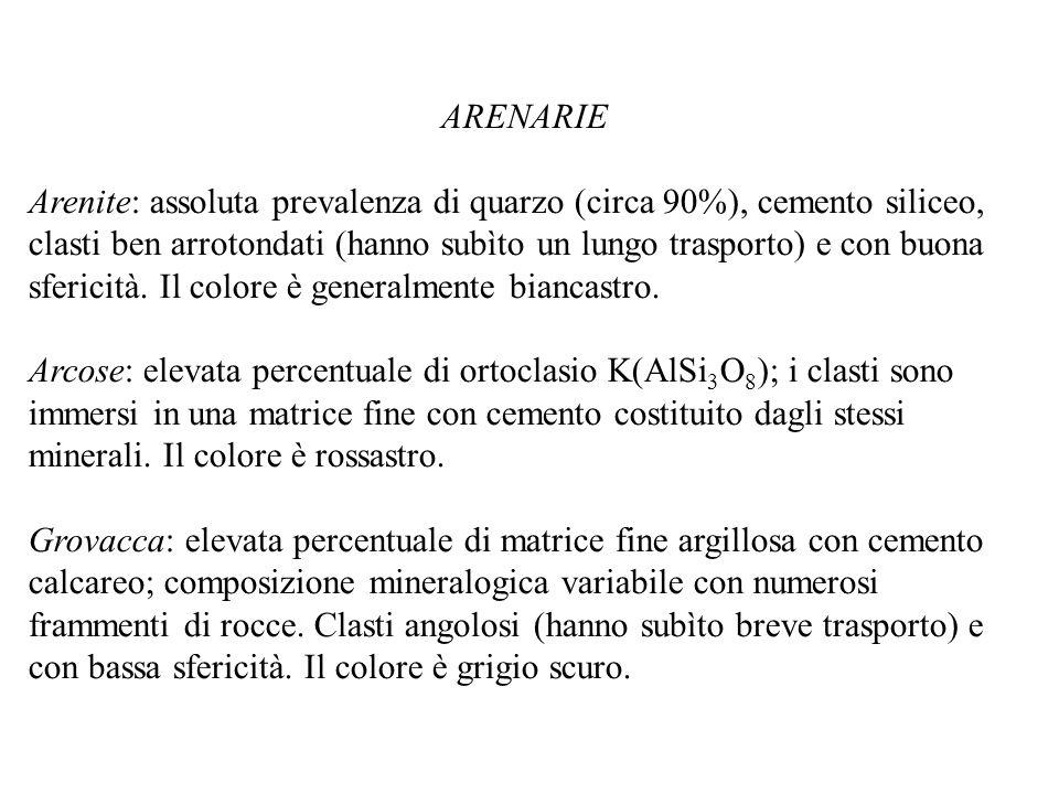 ARENARIE Arenite: assoluta prevalenza di quarzo (circa 90%), cemento siliceo, clasti ben arrotondati (hanno subìto un lungo trasporto) e con buona sfe