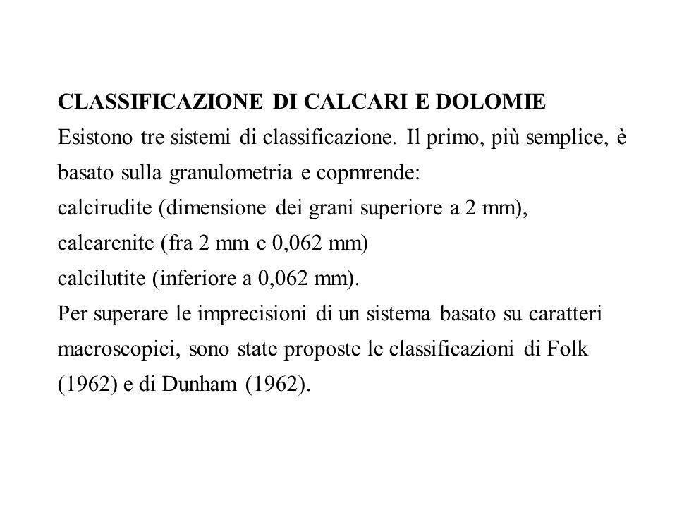 CLASSIFICAZIONE DI CALCARI E DOLOMIE Esistono tre sistemi di classificazione. Il primo, più semplice, è basato sulla granulometria e copmrende: calcir