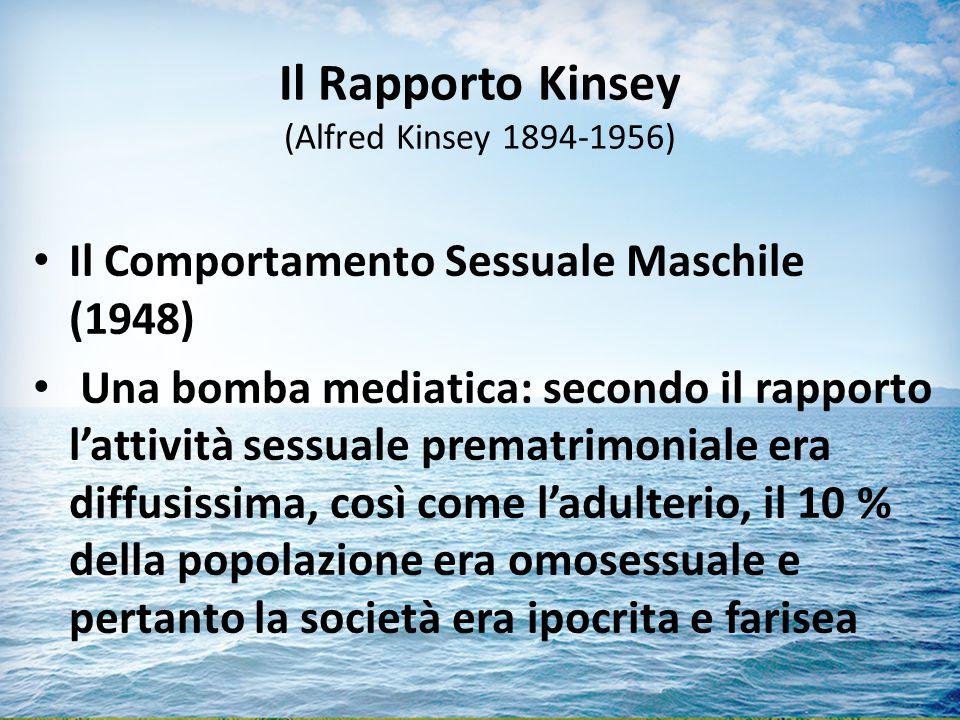Il Rapporto Kinsey (Alfred Kinsey 1894-1956) Il Comportamento Sessuale Maschile (1948) Una bomba mediatica: secondo il rapporto l'attività sessuale prematrimoniale era diffusissima, così come l'adulterio, il 10 % della popolazione era omosessuale e pertanto la società era ipocrita e farisea