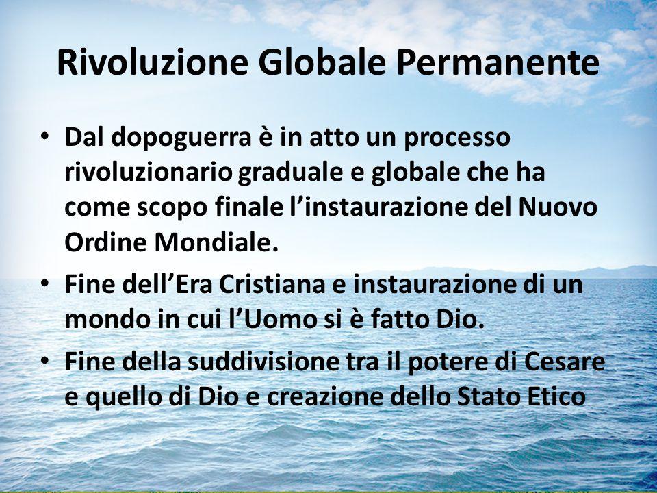Rivoluzione Globale Permanente Dal dopoguerra è in atto un processo rivoluzionario graduale e globale che ha come scopo finale l'instaurazione del Nuovo Ordine Mondiale.